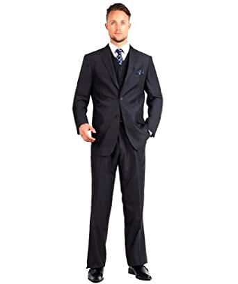 Carlo Lusso Mens Suit 2 Button 3 Piece Modern Fit with Vest at Amazon