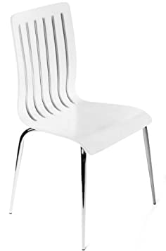 Designer wooden chair and chrome-plated steel, white, dining chair, modern lounge chair