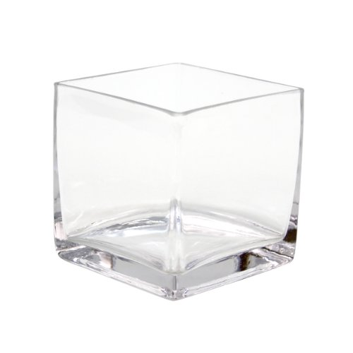 Koyal Wholesale 404343 12-Pack Cube Square Glass Vases, 4 By 4 By 4-Inch