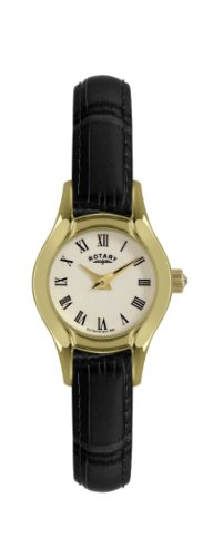 Rotary Women's Quartz Watch with Yellow Dial Analogue Display and Black Leather Strap LS02840/09