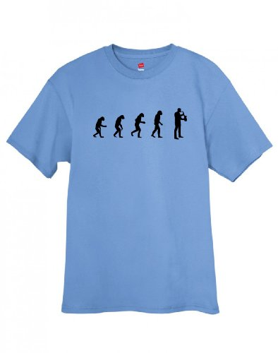 Shirtloco Men'S Evolution Of Man To Saxophonist T-Shirt, Carolina Blue 2Xl