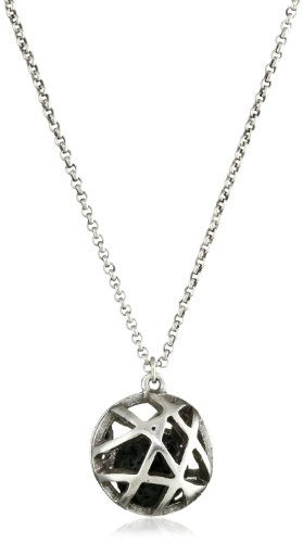 Low Luv by Erin Wasson Cage Sphere and Lava Ball Pendant Necklace in Silver