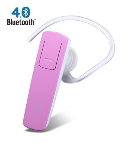 Soaiy® 14 Day Standby,Bluetooth 4.0 Stereo Wireless Headset Handsfree Headphone For Apple Iphone 5S/5C/5,Iphone 4S/4 And Samsung Galaxy S5/S4/S3,Lg And Other Bluetooth Device, Talking No Delay (Hot Pink)