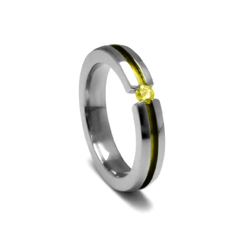 Women's Grey Titanium Round-Cut Yellow Sapphire Ring with Yellow Anodized Channel, Size 4.5