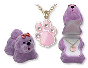 DOG Paw Print Pendant Necklace Gift Box Children Crystals