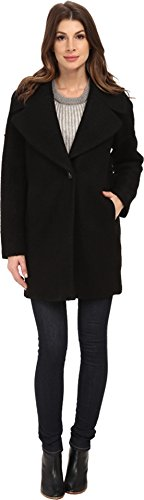 Calvin Klein Womens Wool One Button Boyfriend Coat