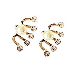 Sorellaz Golden 5 Rhinestone Pearl EARRINGS
