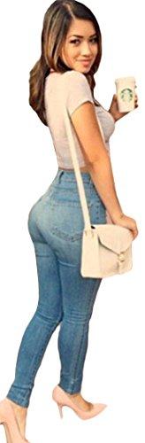 Memory Tea Christmas women's classic high waist sexy slender hips blue jeans
