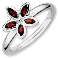 0.56ct Cherishing Silver Stackable Garnet Flower Band. Sizes 5-10 Available