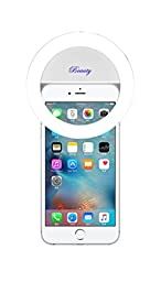 Demetory Ring Fill Light Rechargable for iPhone 6s Plus/6s, iPad, Samsung Galaxy S6 Edge/S6, Galaxy Note 5, Blackberry, Sony Xperia, Motorola and All the Smart Phones (Pearl White)