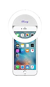 Demetory Ring Fill Light for iPhone 6s Plus/6s, iPad, Samsung Galaxy S6 Edge/S6, Galaxy Note 5, Blackberry, Sony Xperia, Motorola and All the Smart Phones (Pearl White)