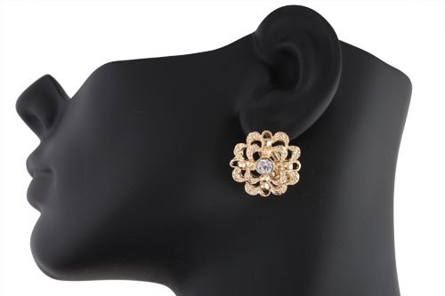 Ladies Gold with Clear Cauliflower Style Clip on Earrings