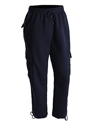 OLLIN1 Mens Athletic Basic Fleece Cargo Jogger Pants