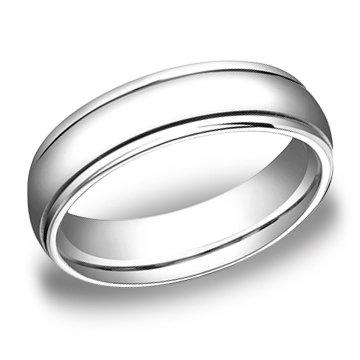 4.00 Millimeters White Gold Wedding Band Ring 10Kt, Comfort Fit with Polished Finish, Style SE9903W4 , Finger Size 14½