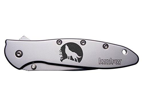 Lone Wolf Moon Engraved Kershaw Leek 1660 Ken Onion Design Folding Speedsafe Pocket Knife By Ndz Performance