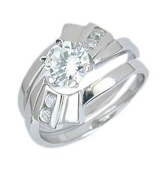 Sterling Silver Engagement 2 Set Ring with Cubic Zirconia - Size: 5-9, 9