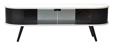 Rge Designs Multi Media TV Storage and Display Unit Hugo with Laquer/ Veneer/ Stained Solid Wood, 135 x 40 x 45 cm, 1-Piece, White/ Black