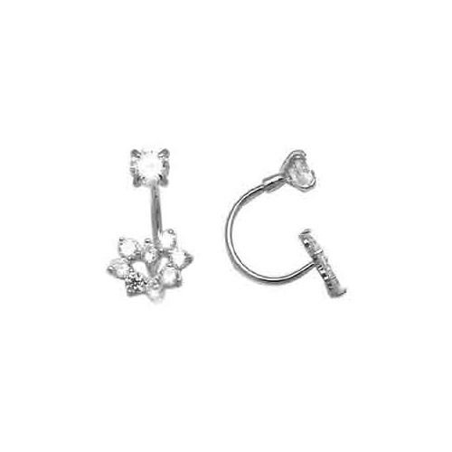FreshTrends Open Hoop Abstract Heart Cubic Zirconia 14KT White Gold Earrings