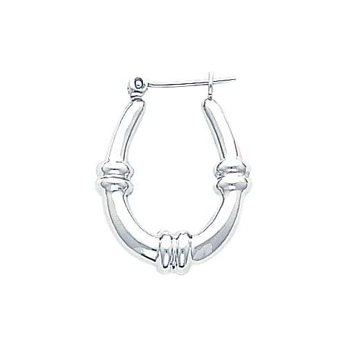 White gold Hoop Earrings Polished Ear Jewelry F Jewelry
