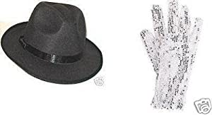 8 PACK MICHAEL JACKSON SEQUIN GLOVES + 8 PACK FEDORA HATS