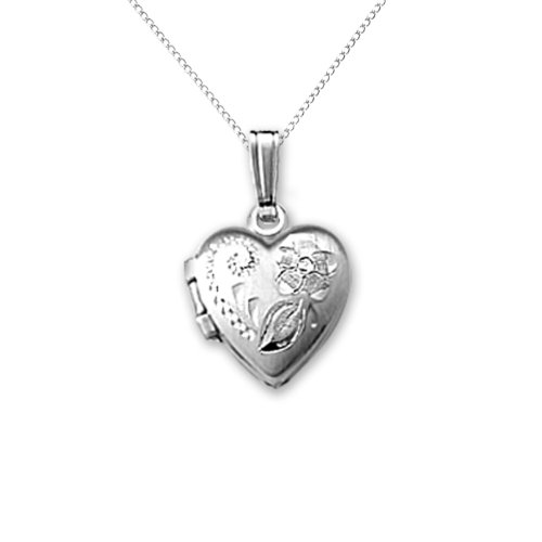 Sterling Silver Children's Hand Engraved Heart Locket Pendant Necklace , 13