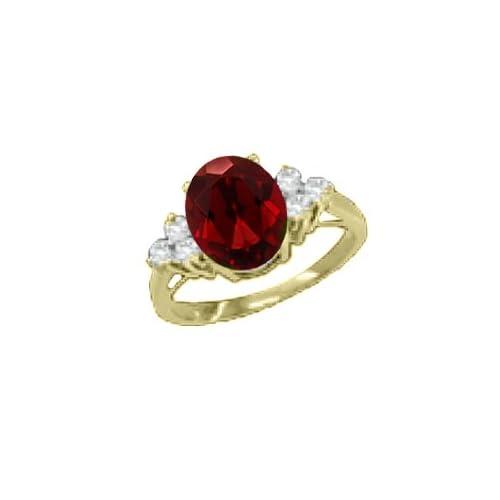 1.68 CT 8x6 Oval Red Garnet Diamond Yellow Gold Ring