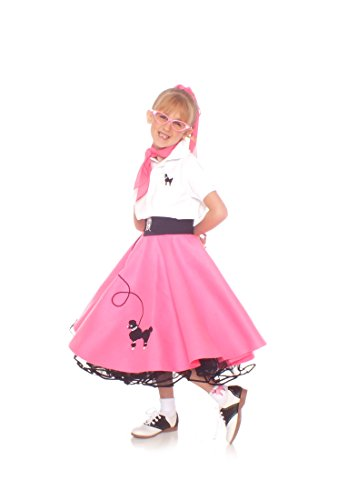 Hip Hop 50S Shop 7 Piece Child Poodle Skirt Outfit - Size Medium Child Hot Pink