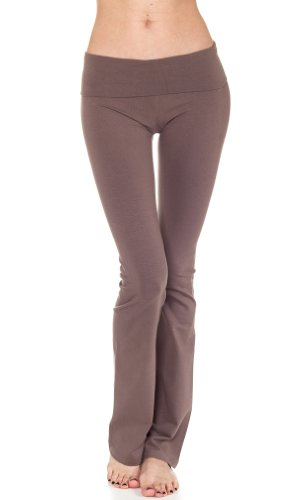 Cordiu Heavy Weight T-Party Fold Over Yoga Pants,Medium,Coffee.Coffee front-591459