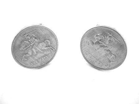 1991 Silver Lietuva One Centas Coin Cufflinks