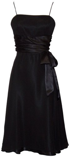Chiffon Satin Dress Prom Formal Bridesmaid Holiday Party Cocktail, Large, black