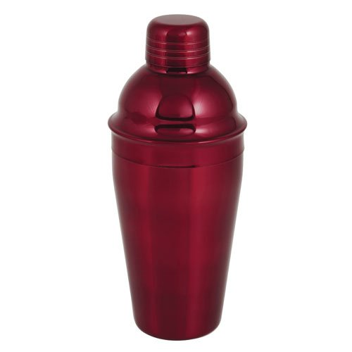 True Fabrications Contour Shaped 18 Oz Cocktail Drink Shaker, Includes Shaker, Strainer And Cap- Crimson Red front-236924