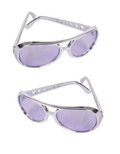 Purple Silver Frame Elvis Aviator Rock Star Glasses