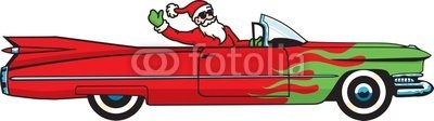 "Wallmonkeys Peel and Stick Wall Decals - Santa Claus Comes to Town in a Hot Rod Convertible - 24""W x 7""H Removable Graphic"