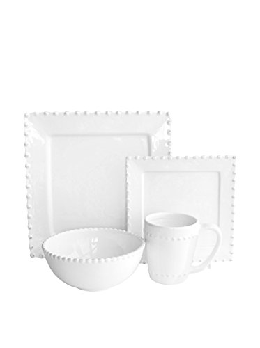 American Atelier Bianca Bead Square 16-Piece Dinnerware Set, White