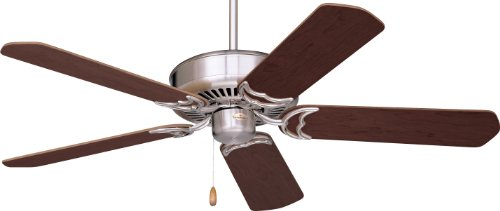 Emerson Cf755Bs Designer Indoor Ceiling Fan, 52-Inch Blade Span, Brushed Steel Finish And Dark Cherry/Mahogany Blades