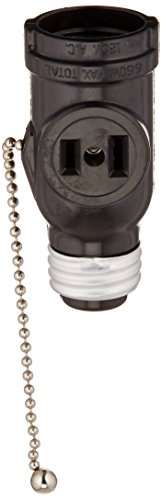 Leviton 1406 660 Watt, 125 Volt, Two Outlet With Pull Chain Socket Adapter, Black (Outlet Light Bulb Adapter compare prices)