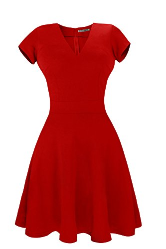 Heloise Women's A-Line Short Sleeve V-Neck Pleated Little Red Cocktail Party Dress (XS, Red)