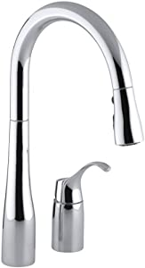 KOHLER K-647-CP Simplice Pull-Down Kitchen Sink Faucet, Polished Chrome