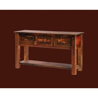 Barnwood 3 Drawer Console Table w Shelf (B14140)