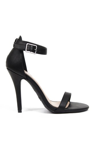 Anne Michelle Enzo-01 Leatherette Single Band Open Toe Sandal - Black Crinkle PU
