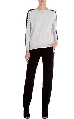 Lace panel sweatshirt pod knit