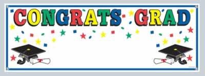"""Congrats Grad Sign Banner 5' x 21"""" 1/Pkg"""