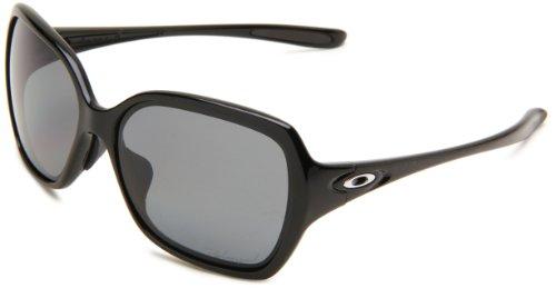 Oakley Womens Overtime OO9167-07 Polarized Round Sunglasses,Polished Black Frame/Grey Polarized Lens,one size