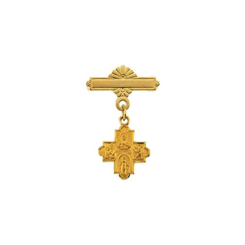 R16730 14KY Gold 12X12mm Polished 4-Way Cross Baptismal Pin