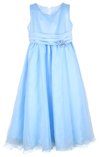 La Vogue-Vestito Bambina di Cotone Misto e Organza Vestito Ballo e Festa Azzurro Petto di 76cm