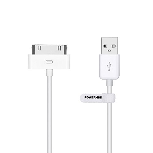 [Apple MFi Certified] Poweradd 30 Pin USB Charging and Sync Dock Connector Data Cable for iPhone 4S / 4, iPad 1 / 2 / 3, iPod Touch, iPod Nano - 4.0 Feet / 1.2 Meters (White)