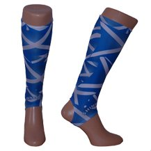 Shinnerz inner sock - protection under shin pad / guard - wick moisture away, stop rubbing and chaffing. Calf tights add warmth to achillies and calf regions. (Small 8-12 years, St. Andrews Scottish flag)