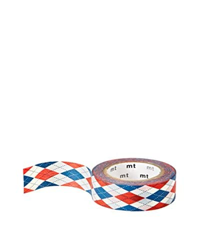mt Masking Tape Argyle Decorative Tape, Blue/Red, 32.8 ft.