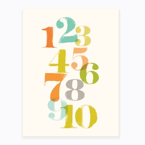 "Sea Urchin Studio Just Numbers Wall Art, Unisex, 12"" x 16"" - 1"