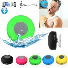 PRAVARA Waterproof Bluetooth Speaker || Handsfree Portable Rechargeable Speakerphone with Built-in Mic, Control Buttons and Dedicated Suction Cup for Showers, Bathroom, Pool, Boat, Car, Beach, & Outdoor Use (Assorted Colors)